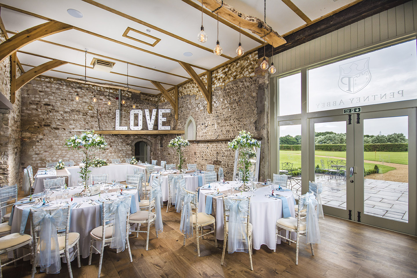 The rustic barn at Pentney Abbey is the perfect setting for your wedding reception