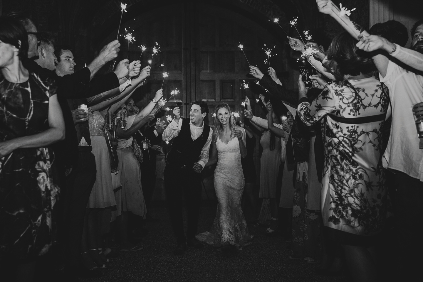 The couple enjoyed a sparkler finale at their Pentney Abbey in Norfolk