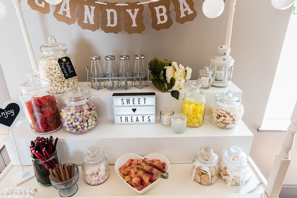 A sweet table is a great idea for treating your guests of all ages at your wedding evening at Pentney Abbey
